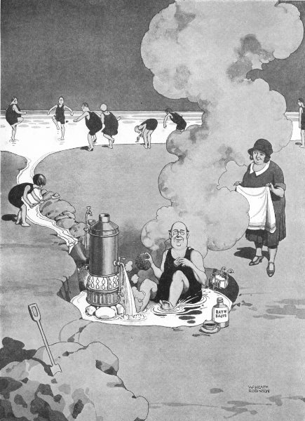 Associate Product HEATH ROBINSON.Tempering water to shorn lamb.Waterside geyser beach holiday 1935
