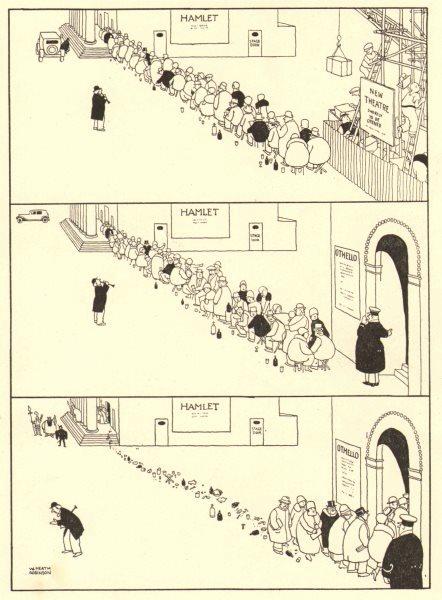HEATH ROBINSON. The stolen queue. Theatre. Hamlet. Othello. Shakespeare 1935