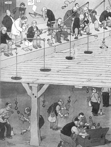 HEATH ROBINSON. A new method of teaching would-be anglers to angle. Fishing 1935