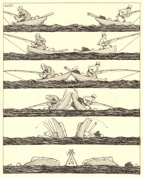 Associate Product HEATH ROBINSON. Something on each way. A fish tragedy. Fishing accident 1935