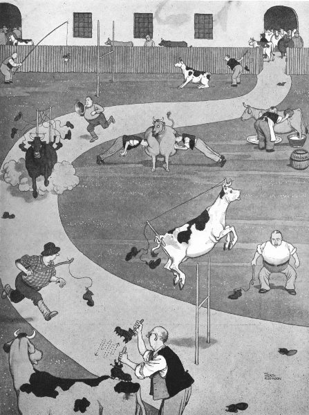 Associate Product HEATH ROBINSON. Cultivating toughness in hides in a football factory 1935