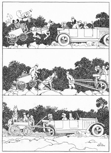 Associate Product HEATH ROBINSON. Motorists helping sufferers from bad state of the road 1935
