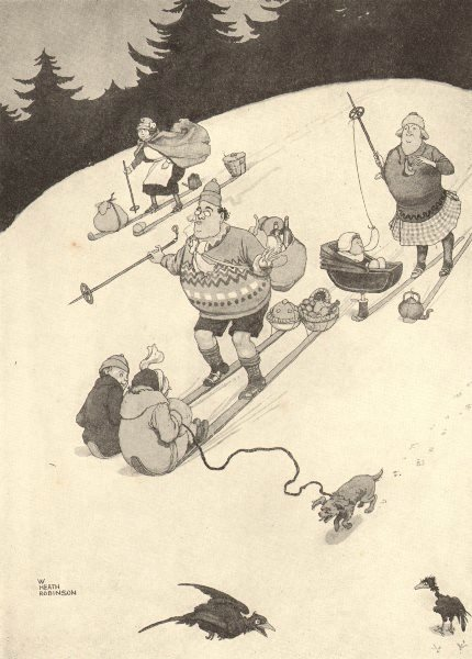 Associate Product HEATH ROBINSON. Off to the ski picnic. Family skiing. Children & baby 1935
