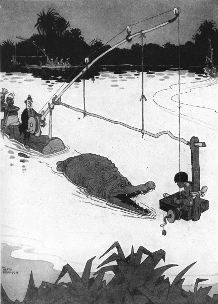 Associate Product HEATH ROBINSON. Cinematographing the crocodile in its native swamps 1935 print