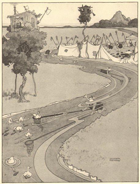 Associate Product HEATH ROBINSON. Widgeon bluffing on the roaring fork. Bird catching 1935 print