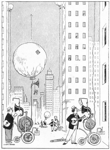 HEATH ROBINSON. Overcoming the difficulties of serenading in New York City 1935