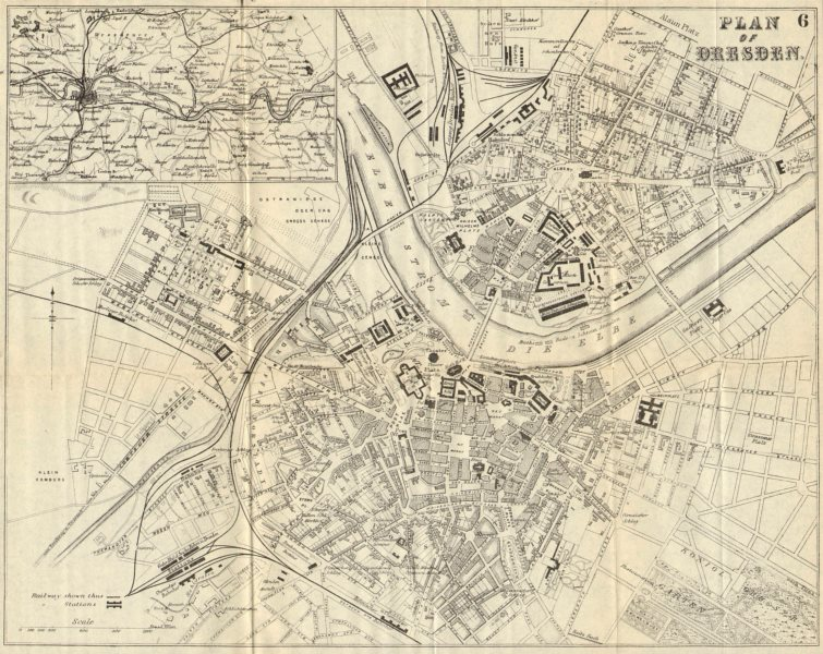 Associate Product DRESDEN. Antique town plan. City map. Germany. BRADSHAW 1890 old