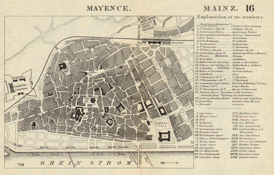 Associate Product MAYENCE MAINZ. Antique town plan. City map. Germany. BRADSHAW 1890 old