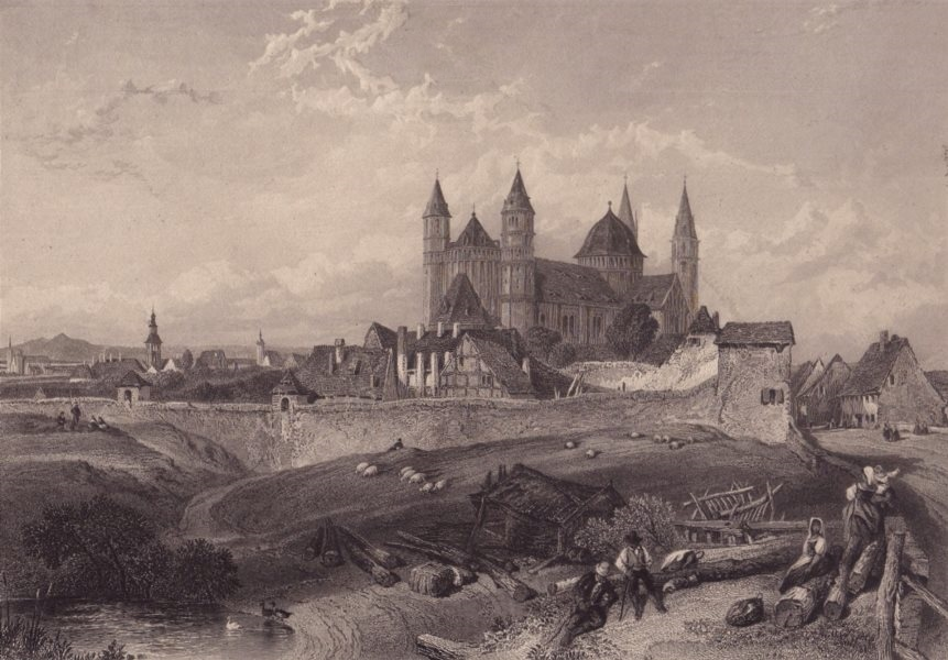 Associate Product WORMS. Showing Cathedral. Wormser Dom Germany Rhine valley. Steel engraving 1875