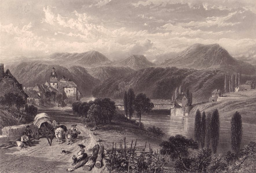 Associate Product EGLISAU. View of the town & Rhine. Steel engraving. Switzerland 1875 old print