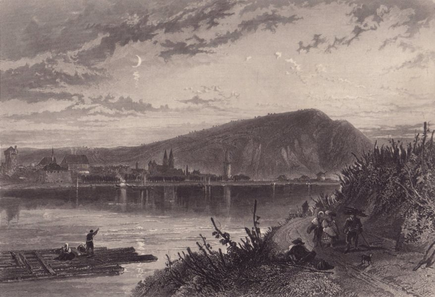 Associate Product ANDERNACH. View from across the Rhine. Steel engraving. Germany 1875 old print