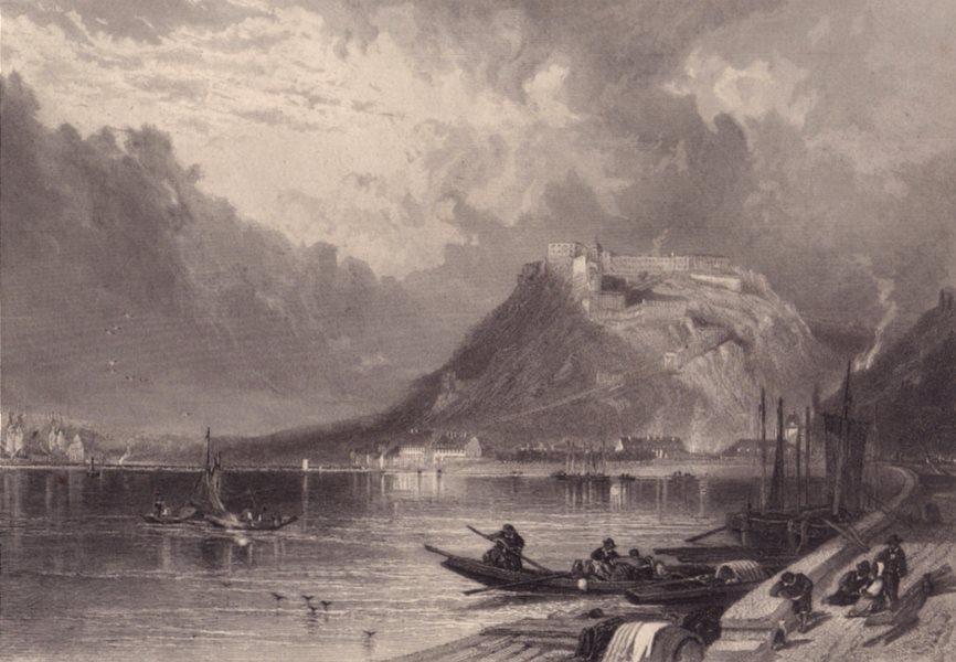 Associate Product EHRENBREITSTEIN FORTRESS. Festung. Koblenz. Germany. Rhine valley 1875 print