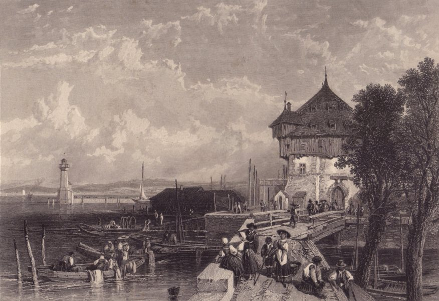 Associate Product KONSTANZ CONSTANCE. View from the harbour. Germany. Rhine valley 1875 print