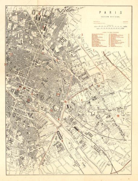 PARIS EAST. Franco-Prussian War. Barricades. Versailles troops routes 1875 map