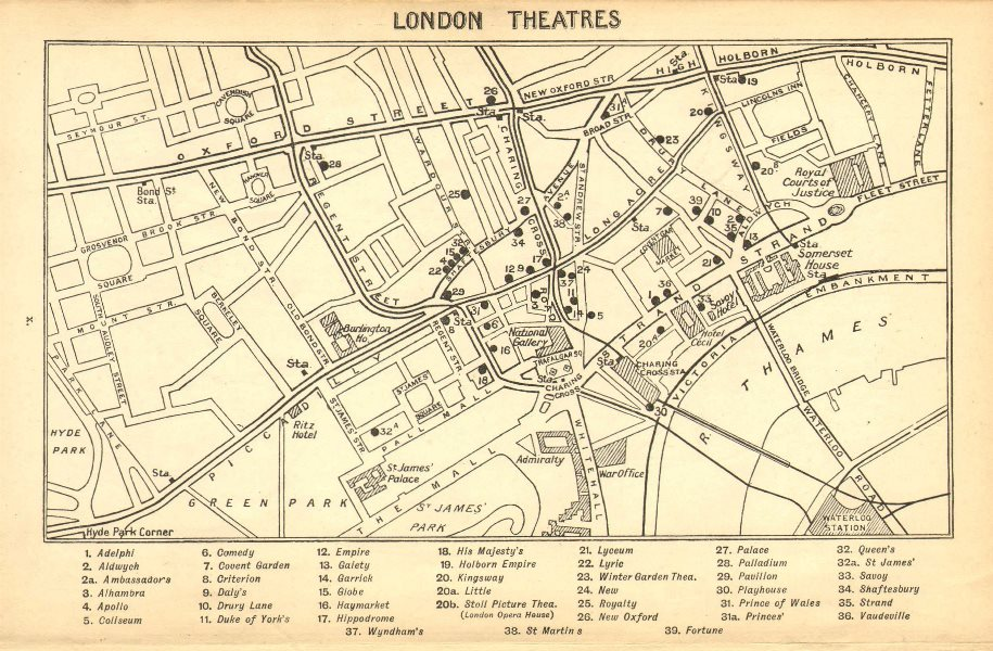 Associate Product WEST END THEATRES. Covent Garden Shaftesbury Avenue &c  1925 old vintage map