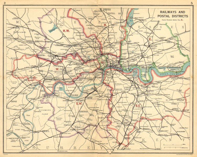 Associate Product LONDON. Railways Postal Districts. Underground tube lines. Bus routes 1925 map