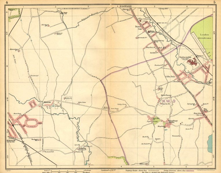 Associate Product LONDON NW.Colindale Harrow-on-the-Hill Burnt Oak Kingsbury Queensbury 1925 map