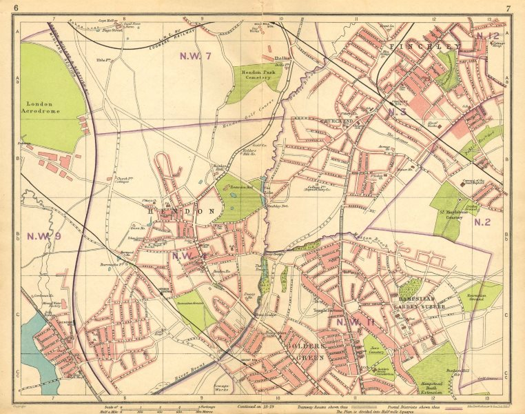 Associate Product LONDON NW. Hendon Finchley Golder's Green Hampstead Garden Suburb 1925 map
