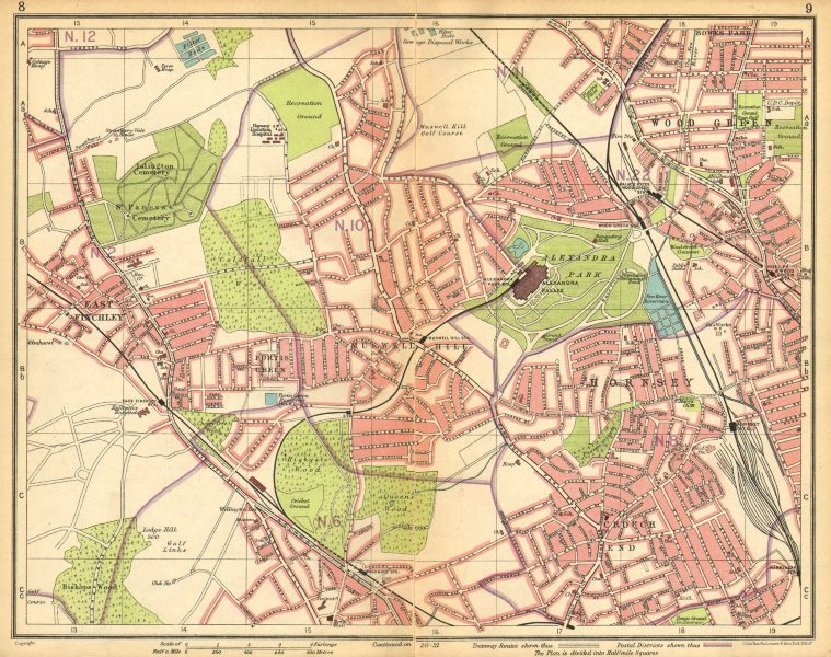 Associate Product LONDON N. Muswell Hill Alexandra Park Wood Green Finchley Crouch End 1925 map