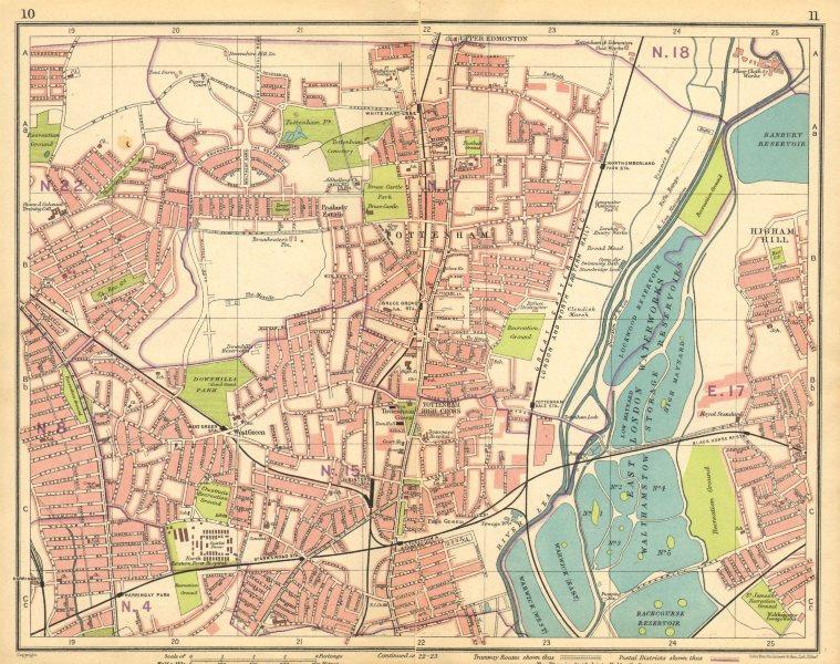 Associate Product LONDON N. Wood Green Tottenham Harringay Higham Hill Upper Edmonton 1925 map