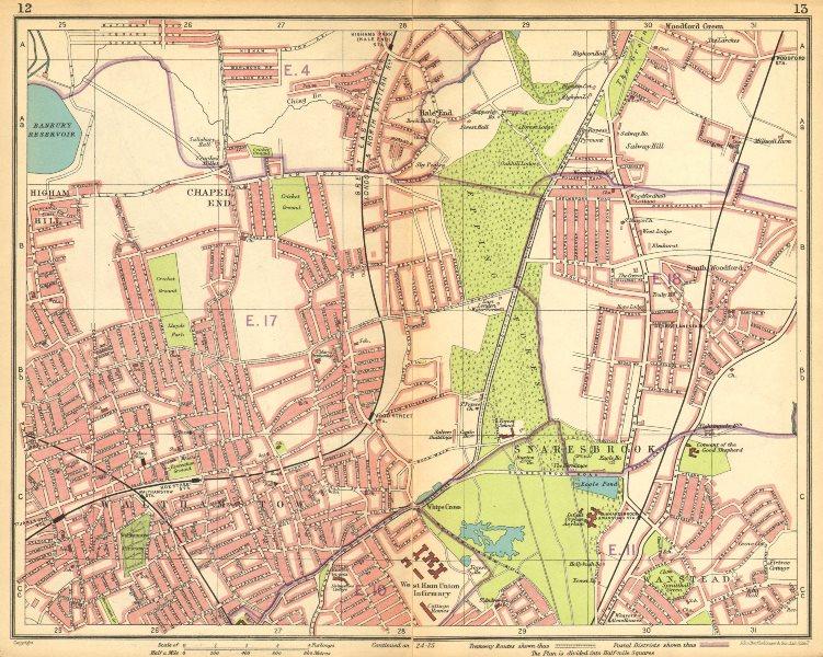 LONDON NE.Walthamstow Snaresbrook Wanstead Higham Hill Woodford Green 1925 map