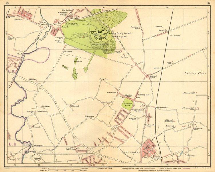 Associate Product LONDON NE.Fulwell Cross Barkingside Fairlop Newbury Park Woodford Brg 1925 map