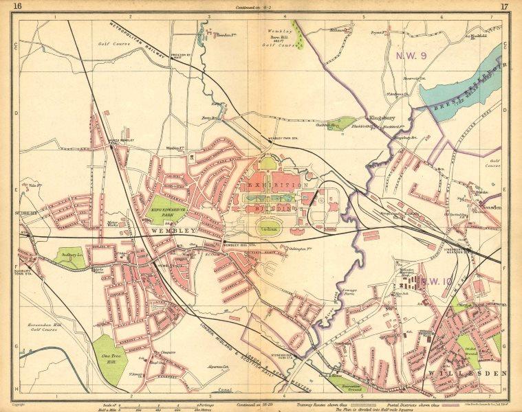Associate Product LONDON NW. Wembley Stadium & Exhibition Sudbury Willesden Neasden 1925 old map
