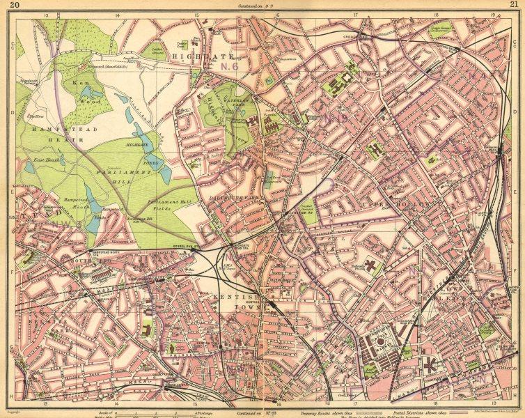 LONDON N.Hampstead Holloway Highgate Kentish Town Belsize Park Camden 1925 map