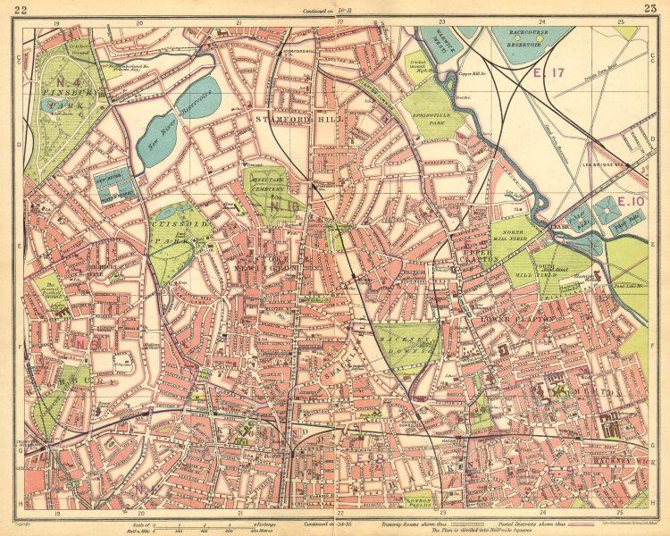 Associate Product LONDON N. Finsbury Park Clapton Highbury Stamford Hill Kingsland 1925 old map