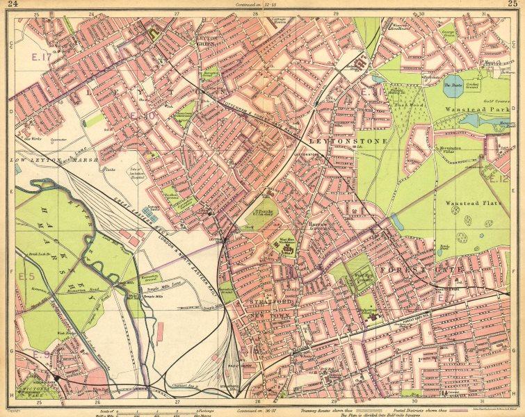 Associate Product LONDON NE. Leyton Leytonstone Stratford Forest Gate Wanstead Hackney 1925 map