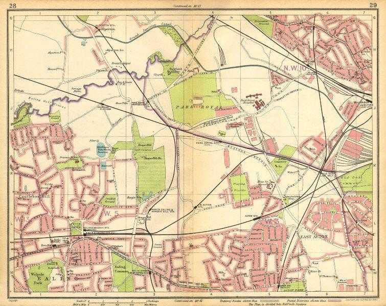 Associate Product LONDON W.Harlesden Willesden Jctn Acton Ealing Alperton Park Royal 1925 map
