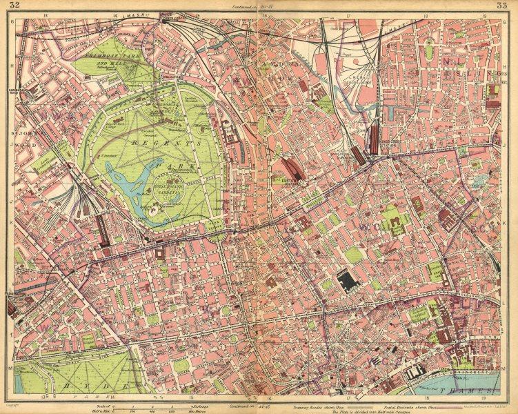 Associate Product LONDON. Regents Park Camden Town Marylebone St John's Wood Bloomsbury 1925 map