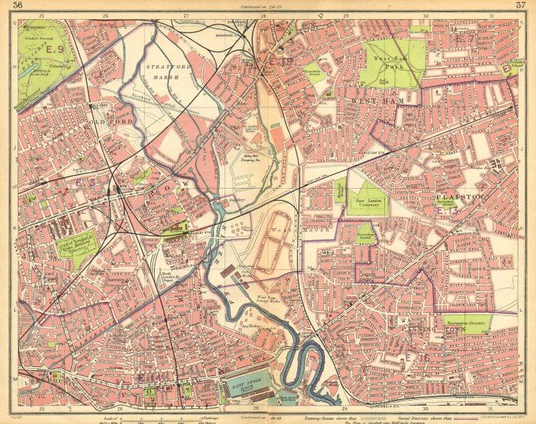 Associate Product LONDON E. Bow West Ham Bromley Stratford Plaistow Poplar Canning Town 1925 map