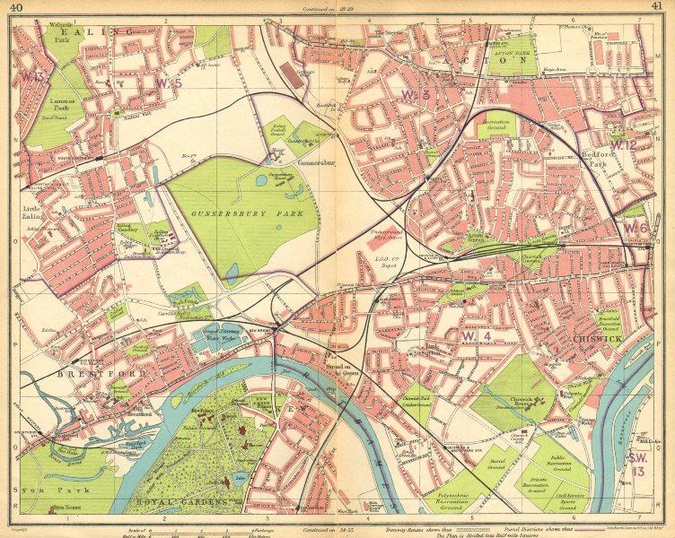 Associate Product LONDON W.Ealing Brentford Acton Chiswick Bedford Park Kew Gunnersbury 1925 map