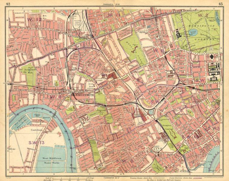 Associate Product LONDON.Hammersmith Kensington Shepherds Bush Earls Court Notting Hill 1925 map