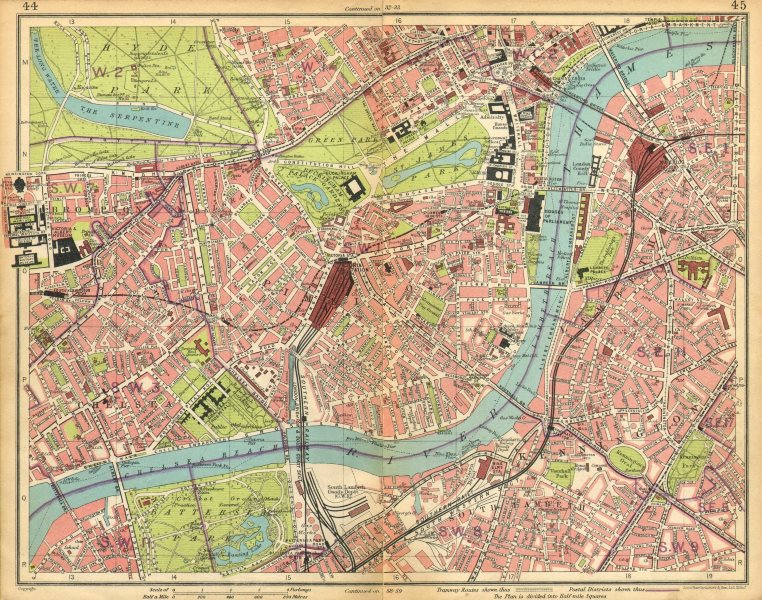 Associate Product LONDON. Brompton Pimlico Mayfair Westminster Chelsea Lambeth West End 1925 map