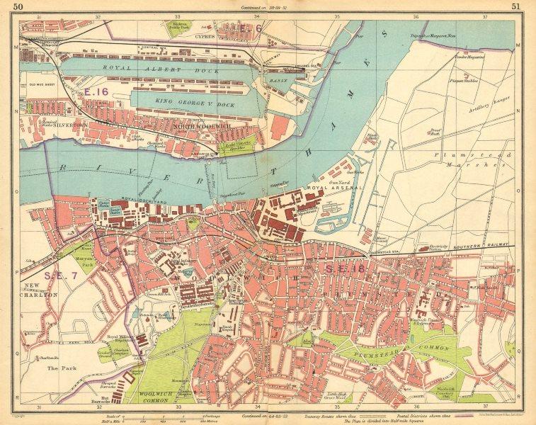 Associate Product LONDON E. Albert Dock Woolwich Plumstead Charlton Beckton Silvertown 1925 map