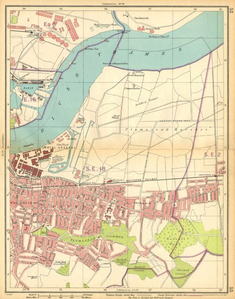 Associate Product LONDON E. Plumstead Woolwich Arsenal Abbey Wood Beckton Manor Way 1925 old map