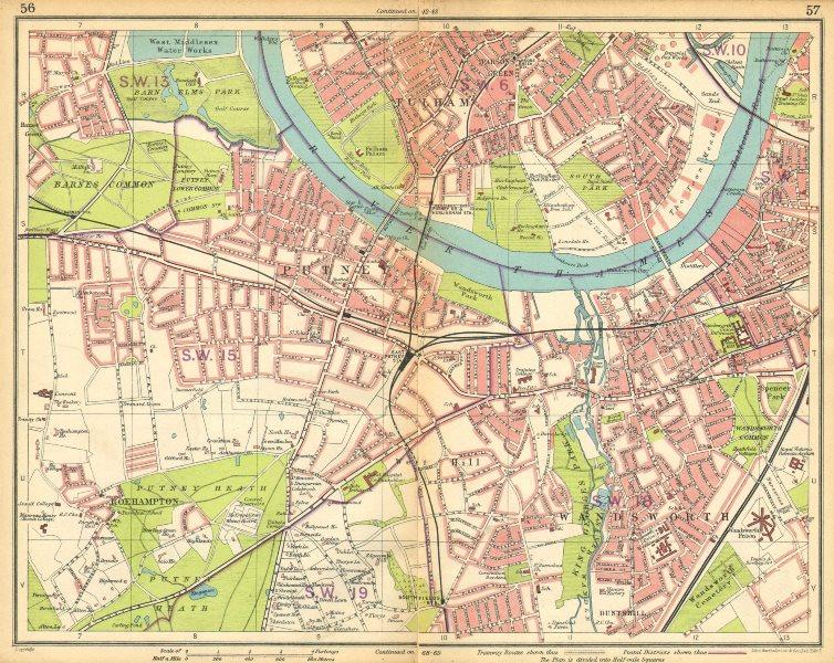 Associate Product LONDON SW. Putney Wandsworth Fulham Barnes Parson's Green Roehampton 1925 map