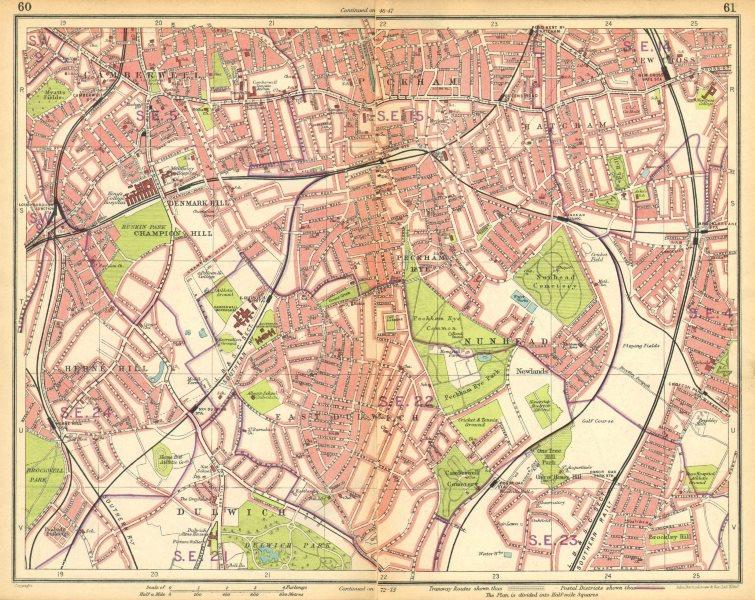Associate Product LONDON S.Camberwell Peckham Denmark/Herne Hill Dulwich New Cross Gate 1925 map
