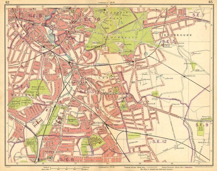 LONDON SE. Deptford Blackheath Greenwich Kidbrooke Brockley New Cross 1925 map