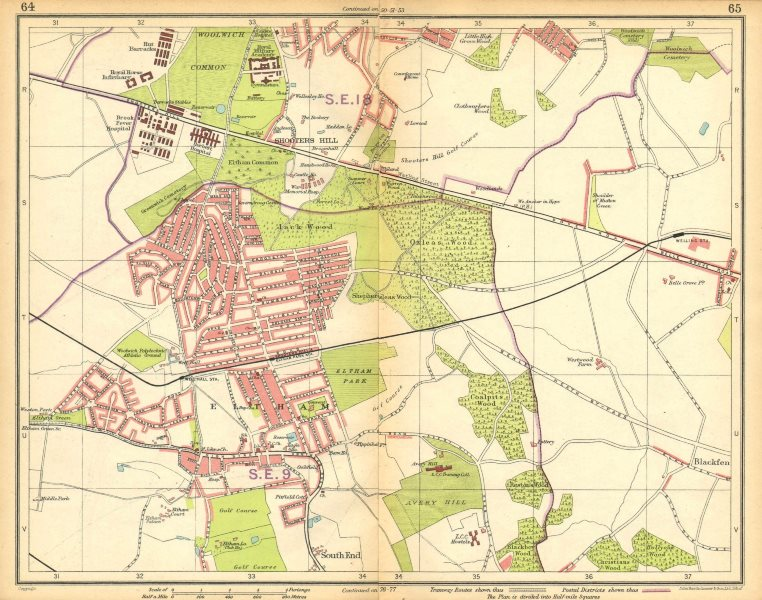 Associate Product LONDON SE. Eltham Shooters Hill South End Welling Blackfen Avery Hill 1925 map