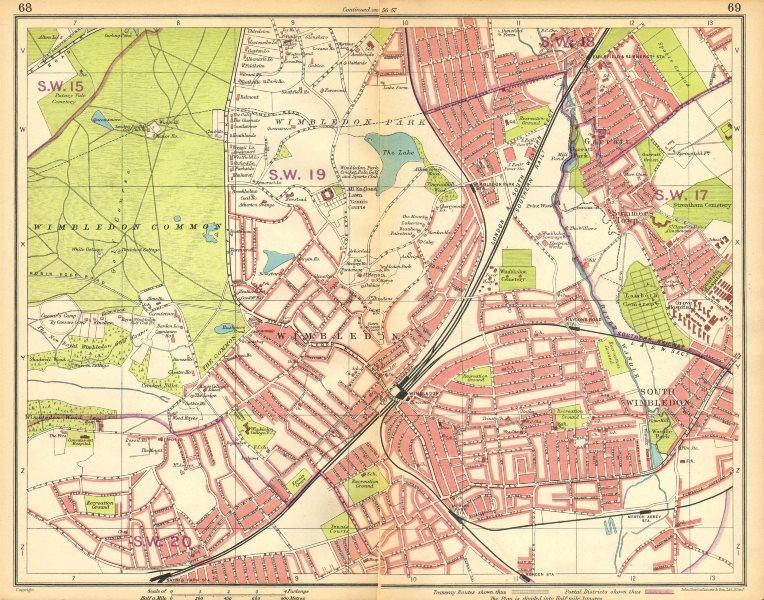 Associate Product LONDON SW. Wimbledon Summerstown Southfields Wandsworth Merton 1925 old map