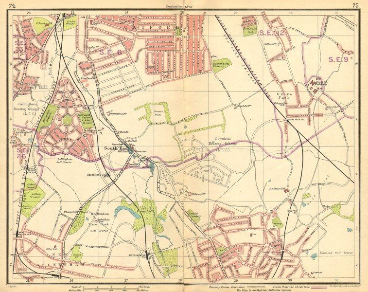 Associate Product LONDON SE. Rushey Green Grove Park Catford Sydenham Beckenham Bromley 1925 map