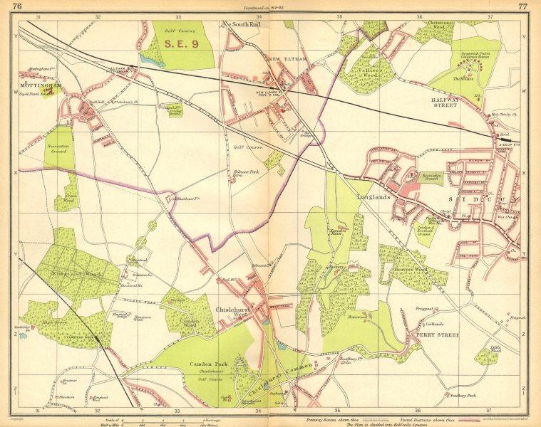 Associate Product LONDON SE.Chislehurst Sidcup Eltham Mottingham Longlands 1925 old vintage map
