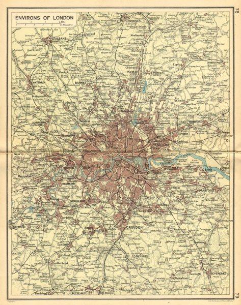 Associate Product LONDON & HOME COUNTIES. Railways & roads. BARTHOLOMEW 1925 old vintage map