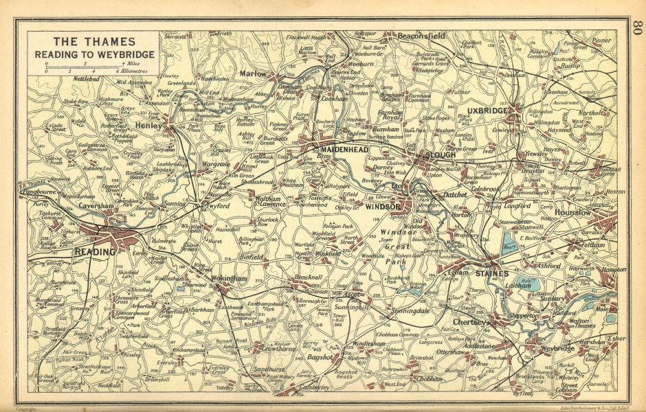 Associate Product THAMES VALLEY. Reading Maidenhead Windsor Slough Uxbridge Henley 1925 old map