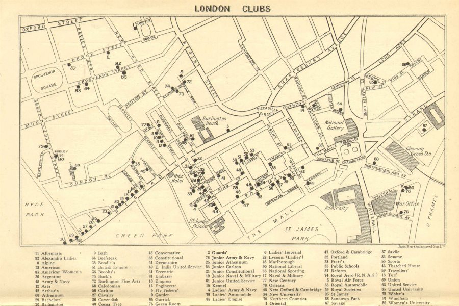 Associate Product LONDON GENTLEMENS CLUBS. St James's Mayfair Piccadilly Whitehall 1930 old map