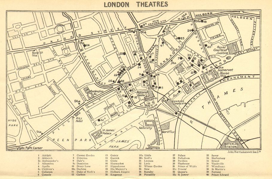 Associate Product WEST END THEATRES. Covent Garden Shaftesbury Avenue &c  1930 old vintage map