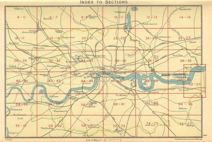 Associate Product LONDON. Index map of London. Railways. BARTHOLOMEW 1930 old vintage chart